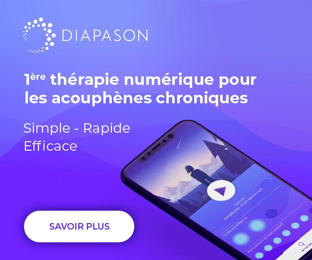 Diapason est une solution numérique qui permet aux personnes souffrant d'acouphènes chronique de se soigner à leur rythme
