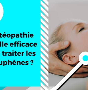 Ce visuel représente un praticien ostéopathe traitant une patiente atteinte d'acouphènes